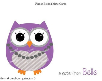 Purple Princess Owl Note Cards Set of 10 personalized flat or folded cards
