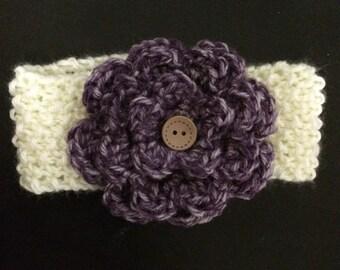 Vanilla & Purple Marble Knit Flower Headband--All Sizes Available