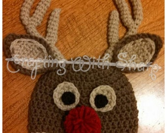 Crochet Reindeer Beanie Hat with Red Nose and 6 Point Rack!