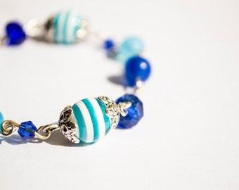 White&Blue Stripes - Blue Beads Silver Accent Bracelet