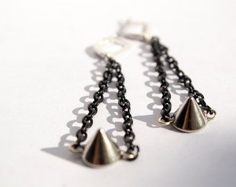 Metal Trend Black Chain Silver Spike Funky Dangle Drop Earrings