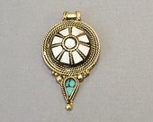 Tibetan Pendant White and Turquoise Inlay 2.5 inch Antique  Brass Plated - AP115_W