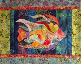 Caribbean Angel Fish raw edge applique and pieced wall quilt pattern