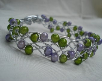 Wire Braided Bracelet with Green and Lilac Beads