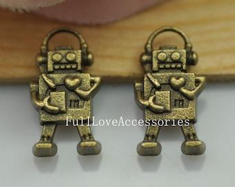 15pcs Antique Brass Mini Robot Charms Pendant 10x17mm Mechanic Charms Connector