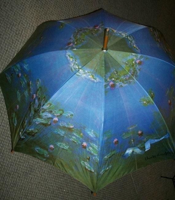 Vintage Umbrella Claude Monet Waterlilies Blue Fabric Cane