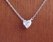 Heart Shape Diamond Pendant 18k White Gold