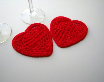 Coasters Crochet Hearts Appliques Set of 2 Valentines Day Ornament home decorating