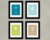 Kitchen Decor Art Print Set - Herbs in Teal, Green and Tan - Parsley, Basil, Dill, Rosemary, 8x10