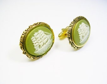 Vintage DANTE Cufflinks, Cameo Incolay Stone, Museum Masterpiece, Clipper Sailship, Men's Jewelry, Formal Wear, Wedding, cuff links