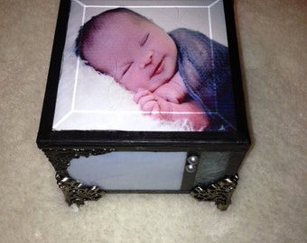 Baby boy stain glass personalized memory keepsake box shabby chic cottage chic little boy gift