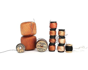 Vintage Thread - Cotton & Silk Darning Thread Spools - Coats Belding Corticelli Heminway Woolco - Instant Collection - Sewing Room Decor