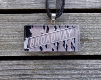 Broadway Sign Glass Pendant and Ribbon Necklace