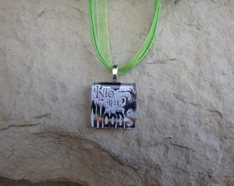 Broadway Musical Into the Woods Glass Pendant and Ribbon Necklace