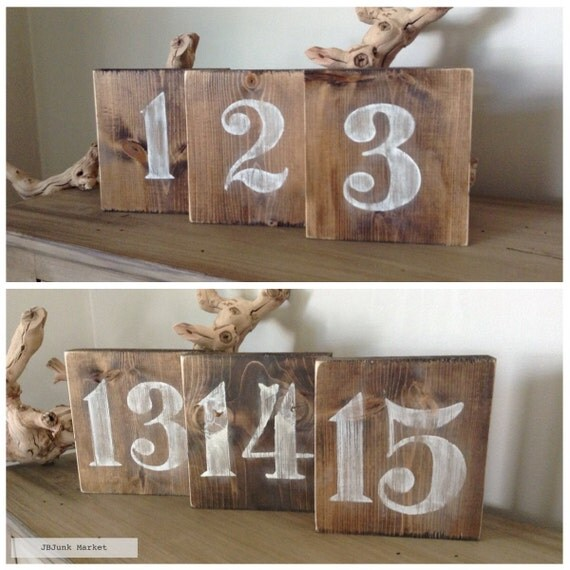 Rustic wood table numbers table numbers wedding table for Table numbers