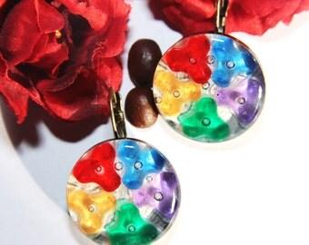Rezin multi-color women girl earrings.Free USA shipping.