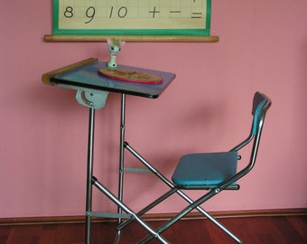 Vintage collapsible  School Desk Painter's Easel for Children mid century design blue 1970s