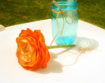 Orange Ranunculus Flower Pen with Gem