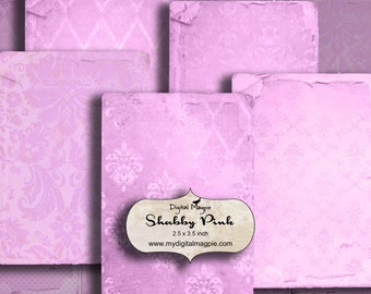 pink shabby chic digital collage sheet paper 2.5 x 3.5 inch ATC background images for crafts,tags instant download