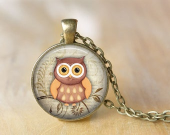 Owl Pendant Necklace Owl Jewelry Art Photo Print Pendant Gift For Her (062)