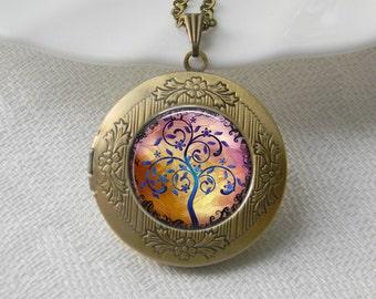 Tree Locket Necklace, Tree of Life Necklace Jewelry Art Photo Print Locket Wonderland Jewelry (038)