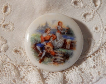 Young Lovers Transfer on a Porcelain Button