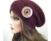 Burgundy Slouchy Beanie, Oversized, Big Button, Women's Slouchy hat, Accessories, Hippie Slouchy Hat , Winter hats, Crocheted Slouchy hat