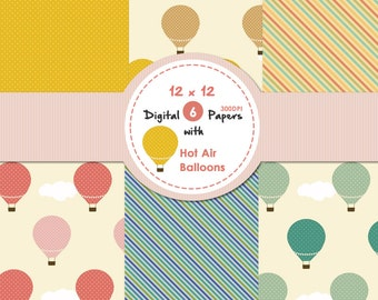 Digital Papers with Hot air balloons Scrapbook Paper Instant Download