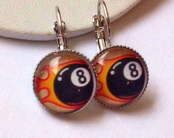 Rockabilly earrings 8 ball jewelry Tattoo flash handmade tattoo accessories
