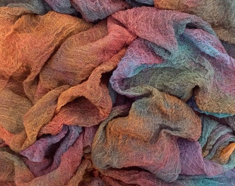 Hand dyed Cotton Scrim, Gauze, Art Cloth, Scarf for nuno felting, art and mixed media projects - Colour No.19 - Black Cherry, Ref.462