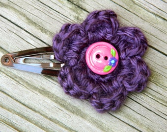 Plum Crocheted Flower Hair Clip with Pink Flower Button