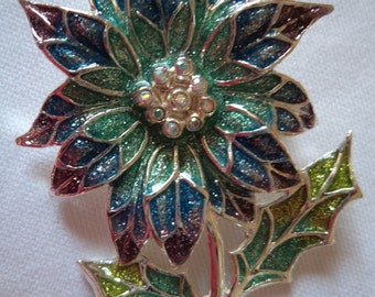Vintage Unsigned Sparkling Turquoise/Blue/Purple Flower Brooch/Pin