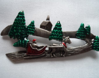 Vintage Unsigned  Sleigh Ride Scene Brooch/Pin
