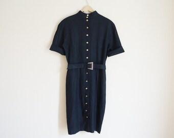 Vintage 1980s Dress / Vintage Linen Dress / Vintage Black Dress