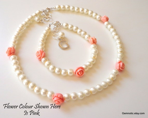 flower girl jewelry sets wedding personalized flower bracelet and necklace set flower 4184