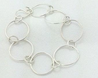Sterling Silver Round Link Bracelet, silver bracelet, handmade silver bracelet, handmade link bracelet