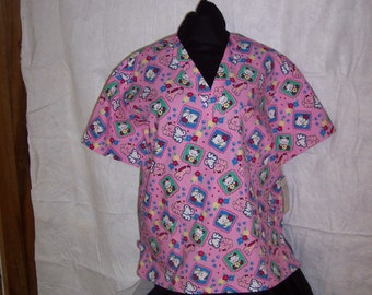 Pink Large Miss Kitty Scrub Top ON SALE