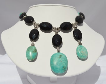 Genuine Turquoise and Black Agate Statement Necklace