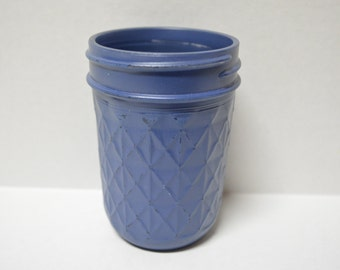 Pint size, Diamond Patterned, Painted Mason Jar