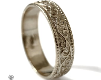 14k gold Vintage 7mm Wedding Band Engraved Floral pattern