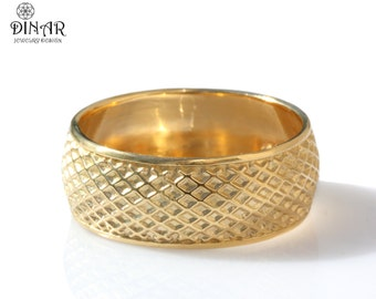14k gold wedding band, men's gold Band, geometric pattern ,wedding ring , wide gold band, Handmade ring, recycled gold, comfort fit