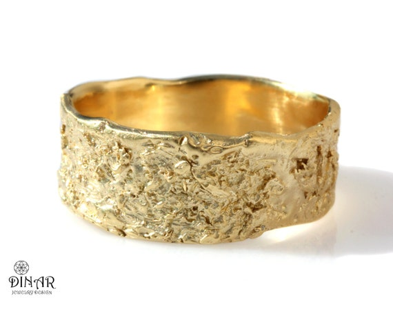 18k wedding band Rustic 14k yellow gold ring wide band