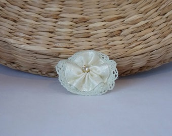 Ivory tiny flower hair clip for christening, baptism, wedding, flower girl, newborn hair clip