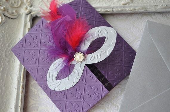 Masquerade Wedding Invitations: Luxury Purple Masquerade Invitation / Mardi Gras Invitations
