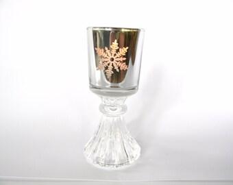 Polished Silver Plated Snowflake Votive Holder on Glass Pedestal