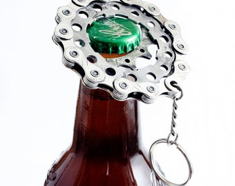 Bottle opener - Recycled Cog and Chain Bicycle Bottle Opener - Bike Gifts - Bicycle - Gifts for Him