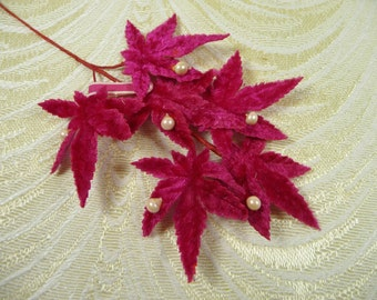 Vintage Red Fuchsia Velvet Leaves Millinery from Japan NOS Spray of 6 with Pearls for Hats Wedding Scrapbooks 7LV0034R