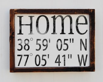 Latitude Longitude Sign House Warming Gift Bridal Shower