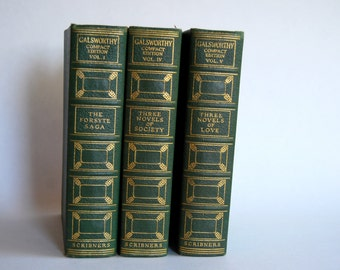 Vintage Trio of Book, Galsworthy Volumes V, IV and I