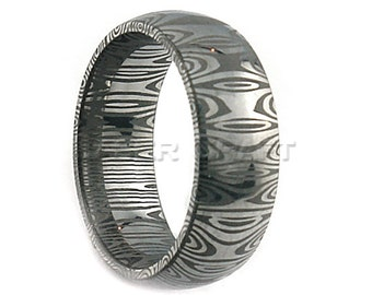 Damascus Steel Wedding Band Dome Shape 8mm